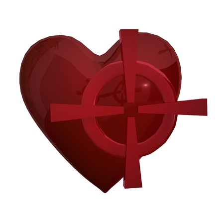 Red heart with red target