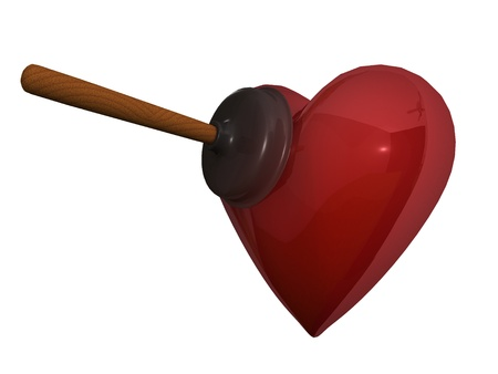 Rubber plunger and red heart on white