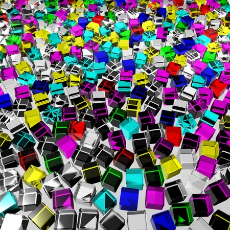 a lot of color messy glass cubes