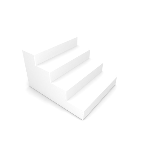 White staircase with shadow on white background