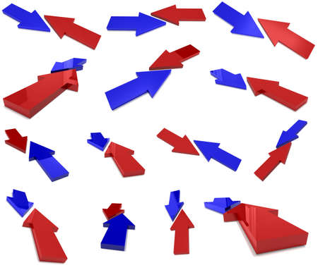 collision red and blue arrows Stock Photo - 9437125