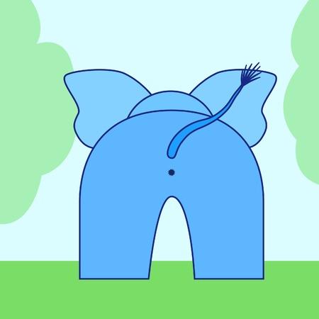 cartoon elephant back Vector