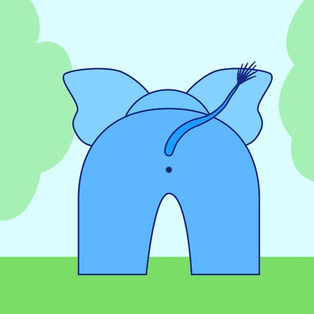 bum: cartoon elephant back Illustration