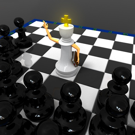 White priest king and black pawns photo