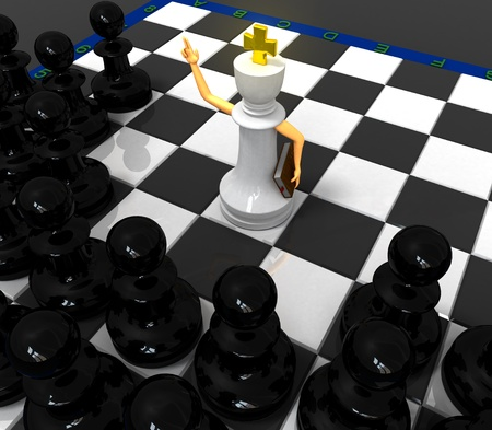 priest: White priest king and black pawns Stock Photo