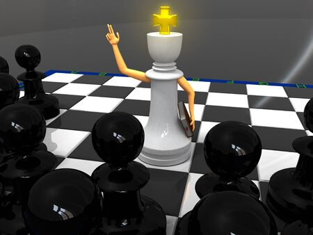 White king monk and black pawns photo