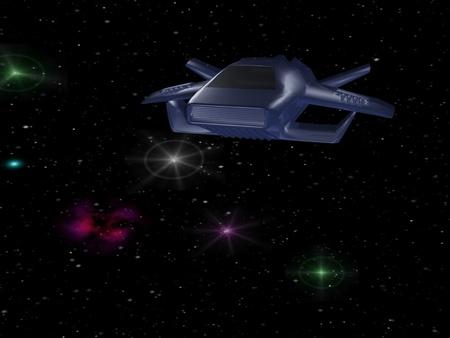 Battle spaceship in deep space