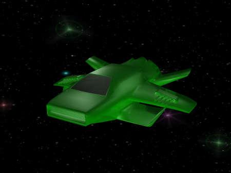 Green battle spaceship in deep space photo