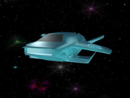 Battle spaceship in deep space photo