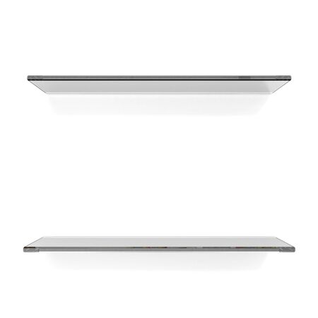Two transparent gray shelfs on white background