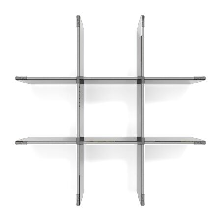 shelfs: glass grid shelfs on white background Stock Photo