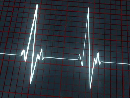 white volume cardiogram and red grid on dark background