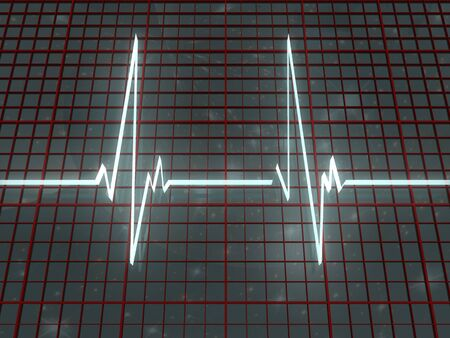 taking pulse: Light cardiogram and red grid on space background Stock Photo