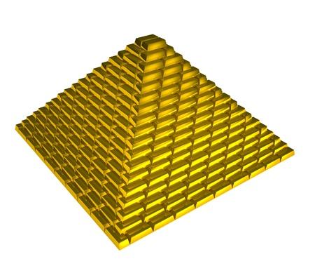 Gold bricks pyramid on white background