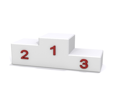 white empty winner pedestal with red numbers photo