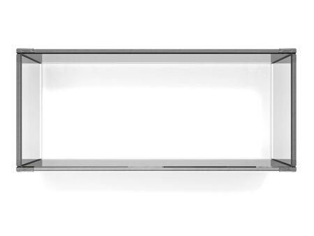 Square glass shelf on white background photo