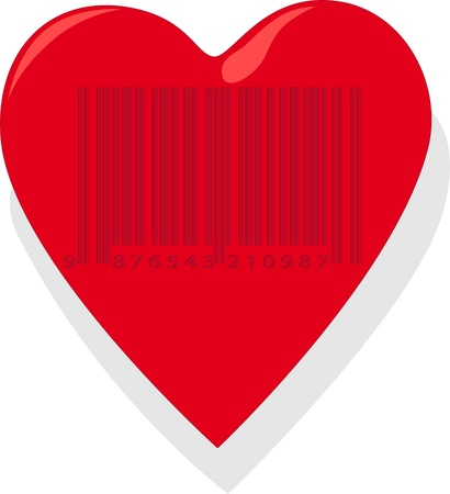 Heart with barcode Stock Vector - 10417037