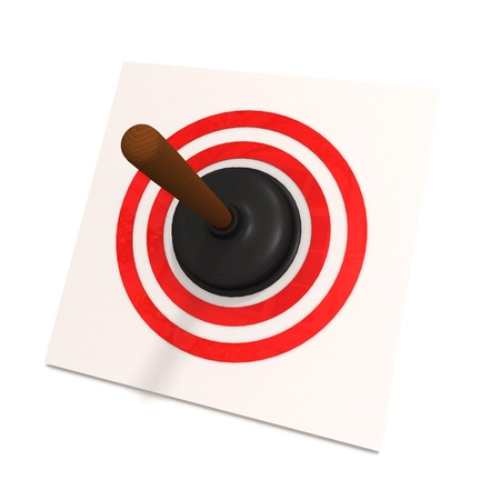 A toilet plunger in red target on white