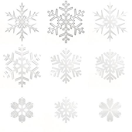 Set isolated white transparent snowflakes on white background
