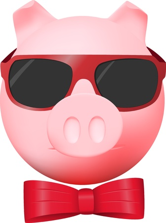 Pig with red bow and mirror glasses Illustration