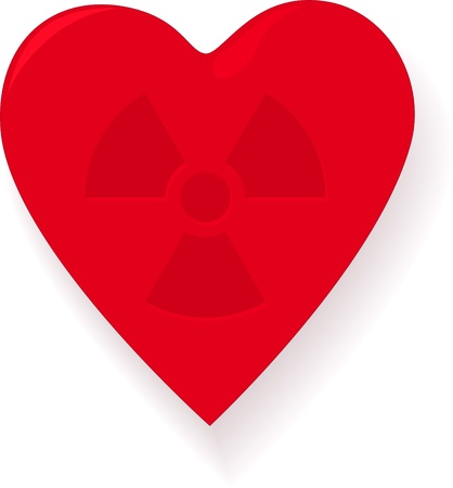 Red heart with sign radiation Vector
