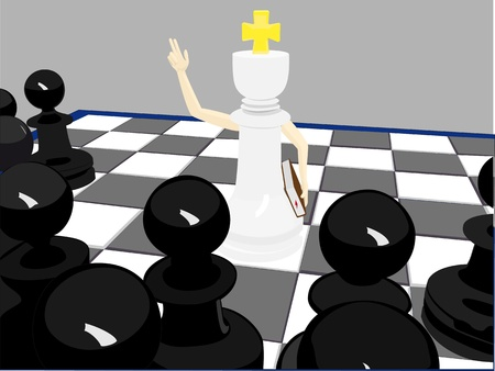 White king monk and black pawns Vector