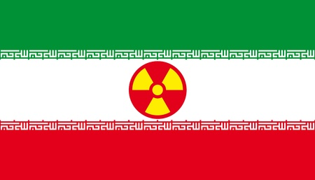 Flag of Iran with radiation sign