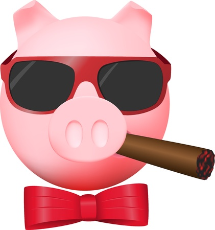 cigar cartoon: Pig with cigar, mirror glasses and red bow