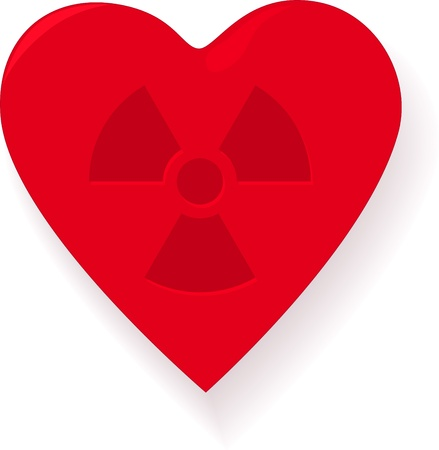 Infected heart with radiation sign Vector
