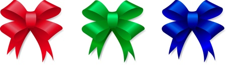 Red, green and blue bows