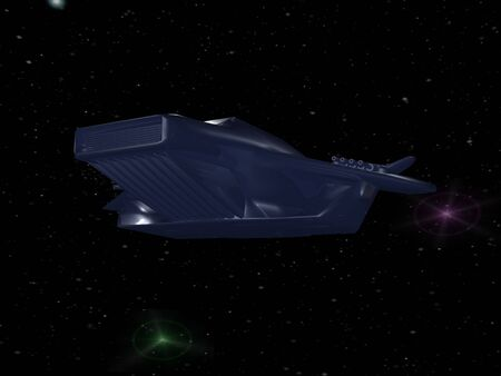 Battle spaceship in deep space photo