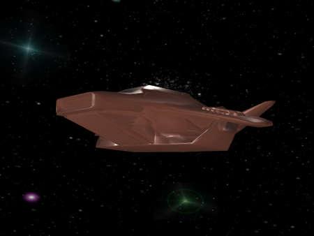 Brown battle spaceship in deep space photo