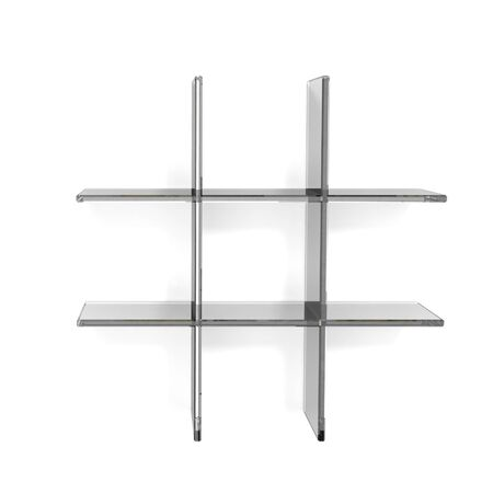 glass grid shelfs on white background photo
