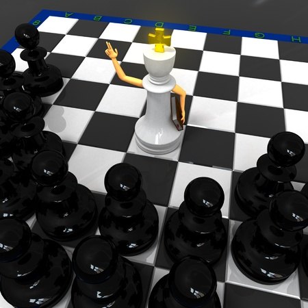 White saint king preaches black pawns photo