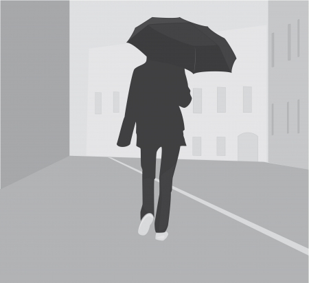 Silhouette girl with umbrella in city Stock Vector - 15786809