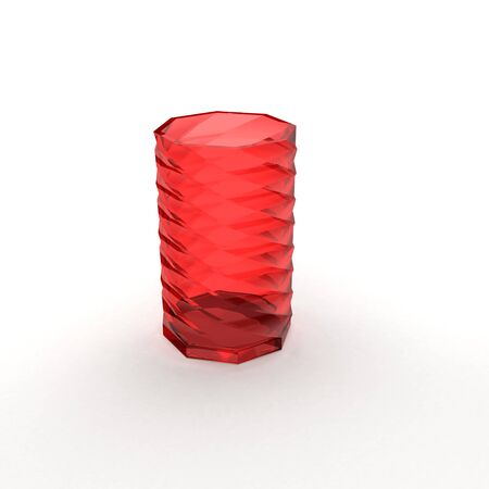 red glass vase with shadow on white