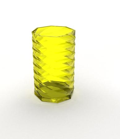 Yellow glass vase on white photo