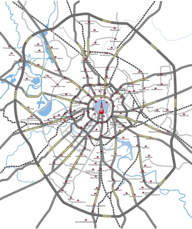Map of main roads and subway station Moscow City with Russian language on separated layers