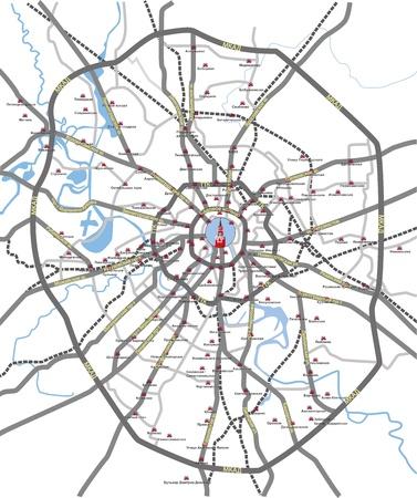 Mapa de carreteras principales y de la estación de metro de Moscú la ciudad con la lengua rusa en capas separadas
