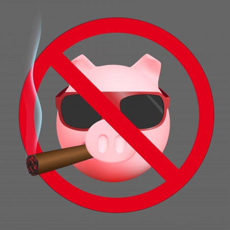 No smoking sign with pig Vector