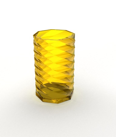 Glass vase with shadow on white photo