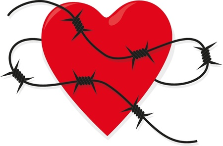 Heart with barbed wire Vector