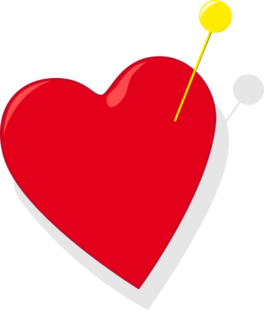 amative: Red heart with gold pin Illustration