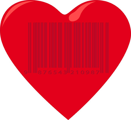 Heart with barcode Vector