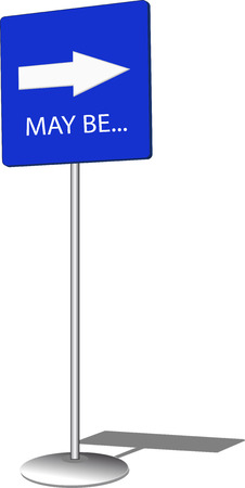 hesitation: Blue pointing sign with white arrow Illustration