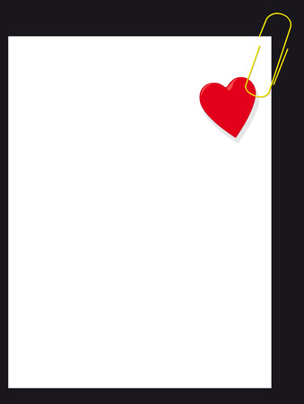 amative: Heart with clip on white page Illustration