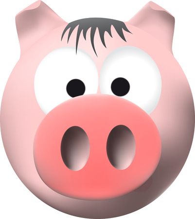 Funny pink pig with big snout
