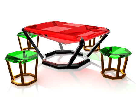 table and chairs made of precious stones Stock Photo