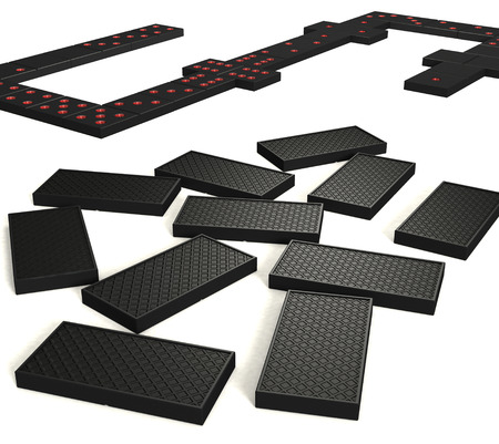 Black dominoes with red points  in game