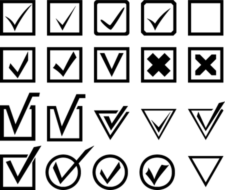 primaries: Set of check and select symbols